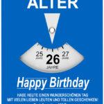 Geburtstagskarte als Parkscheibe zum 26. Geburtstag