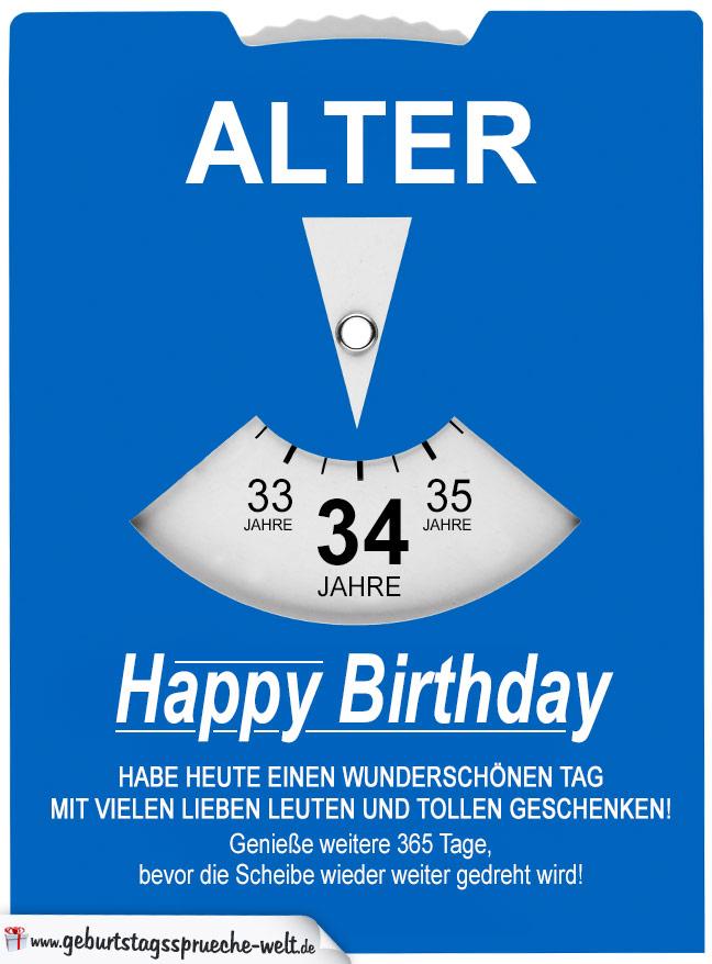 Geburtstagskarte als Parkscheibe zum 34. Geburtstag ...