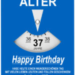 Geburtstagskarte als Parkscheibe zum 37. Geburtstag