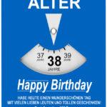 Geburtstagskarte als Parkscheibe zum 38. Geburtstag