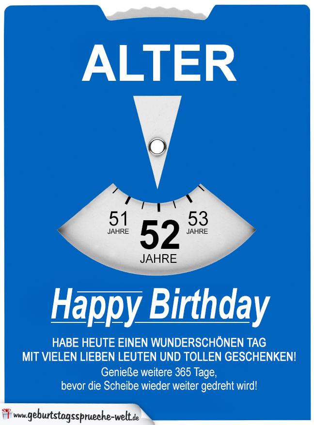 Geburtstagskarte Als Parkscheibe Zum 52 Geburtstag