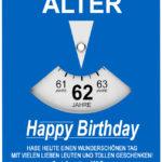 Geburtstagskarte als Parkscheibe zum 62. Geburtstag
