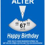 Geburtstagskarte als Parkscheibe zum 67. Geburtstag