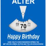 Geburtstagskarte als Parkscheibe zum 70. Geburtstag