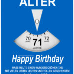 Geburtstagskarte als Parkscheibe zum 71. Geburtstag