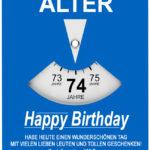 Geburtstagskarte als Parkscheibe zum 74. Geburtstag