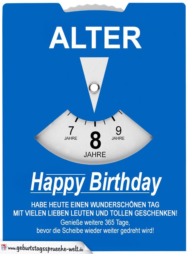 Geburtstagskarte als Parkscheibe zum 8. Geburtstag