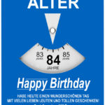 Geburtstagskarte als Parkscheibe zum 84. Geburtstag