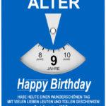 Geburtstagskarte als Parkscheibe zum 9. Geburtstag