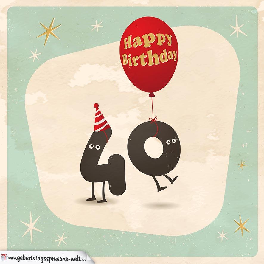 Geburtstagskarten 40 Geburtstag: Happy Birthday Geburtstagskarte Mit Lebendigen Buchstaben