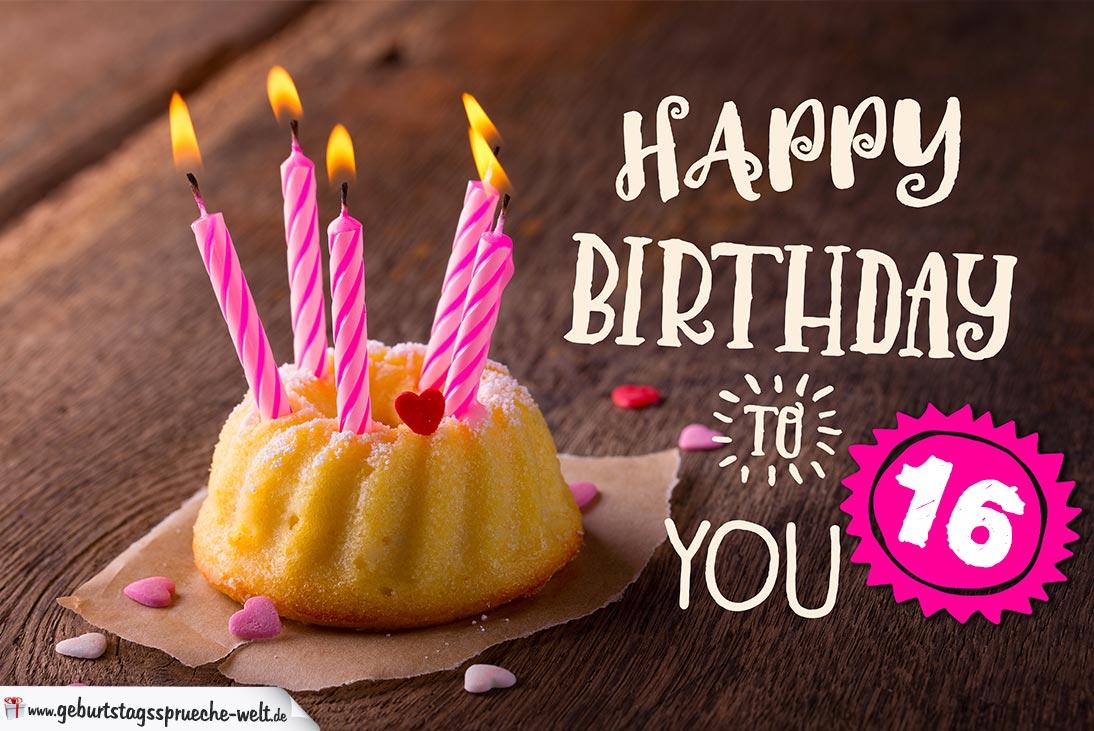 happy birthday karte zum 16. geburtstag mit kuchen
