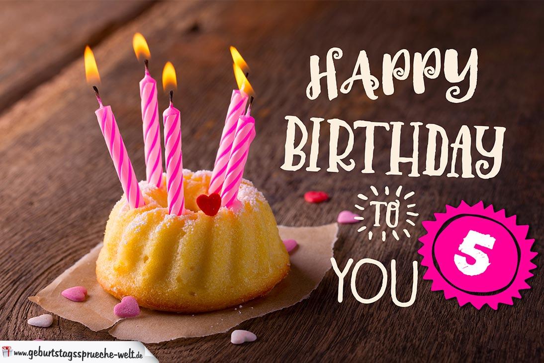 Happy Birthday Karte Zum 5 Geburtstag Mit Kuchen