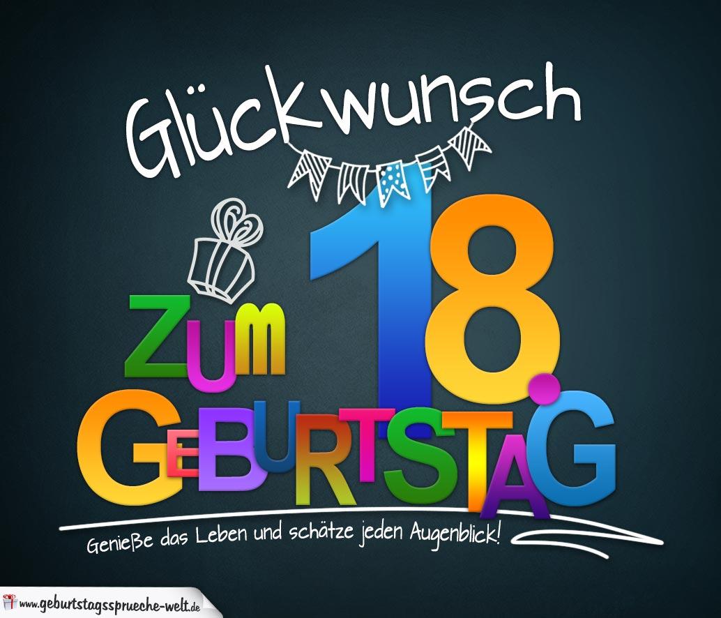 Sprüche zum 18. Geburtstag - Karte mit schönem Spruch zum ...