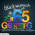 Sprüche zum 65. Geburtstag - Karte mit schönem Spruch zum Nachdenken