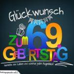 Sprüche zum 69. Geburtstag - Karte mit schönem Spruch zum Nachdenken