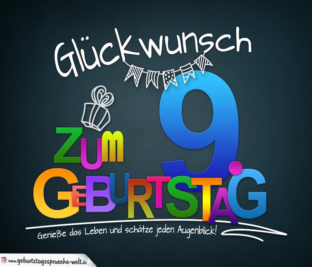 Sprüche Zum 9 Geburtstag Karte Mit Schönem Spruch Zum