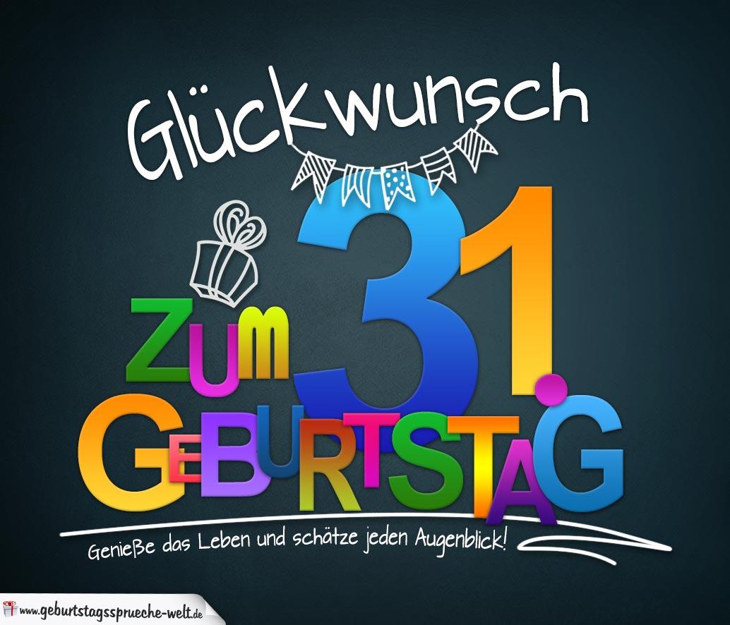 Sprüche zum 31. Geburtstag - Karte mit schönem Spruch zum Nachdenken ...