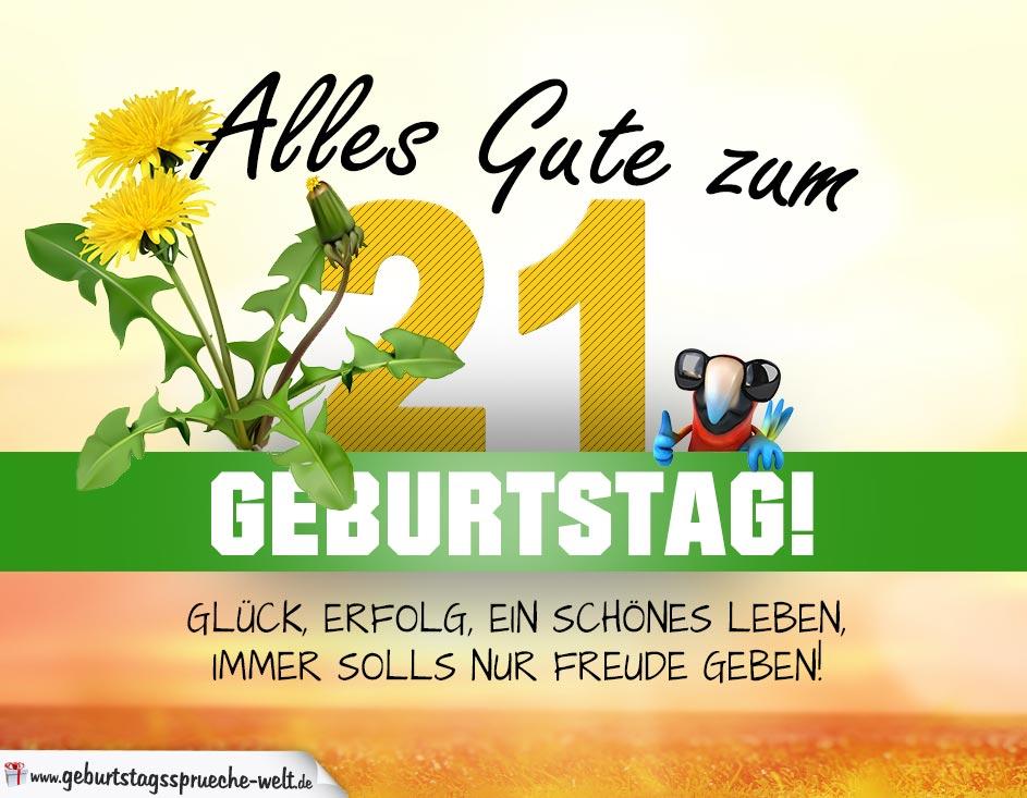 21 Geburtstag Geburtstagskarte Alles Gute Mit Schönem Spruch