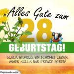 28. Geburtstag - Geburtstagskarte ALLES GUTE mit schönem Spruch