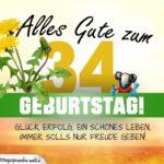 34. Geburtstag - Geburtstagskarte ALLES GUTE mit schönem Spruch