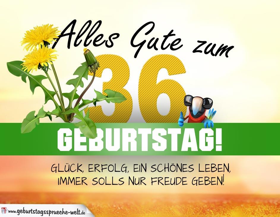 36 Geburtstag Geburtstagskarte Alles Gute Mit Schönem Spruch