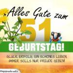 51. Geburtstag - Geburtstagskarte ALLES GUTE mit schönem Spruch