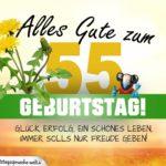 55. Geburtstag - Geburtstagskarte ALLES GUTE mit schönem Spruch