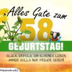 58. Geburtstag - Geburtstagskarte ALLES GUTE mit schönem Spruch