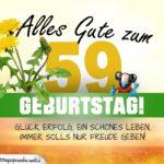 59. Geburtstag - Geburtstagskarte ALLES GUTE mit schönem Spruch