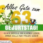 63. Geburtstag - Geburtstagskarte ALLES GUTE mit schönem Spruch