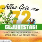 72. Geburtstag - Geburtstagskarte ALLES GUTE mit schönem Spruch