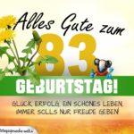 83. Geburtstag - Geburtstagskarte ALLES GUTE mit schönem Spruch