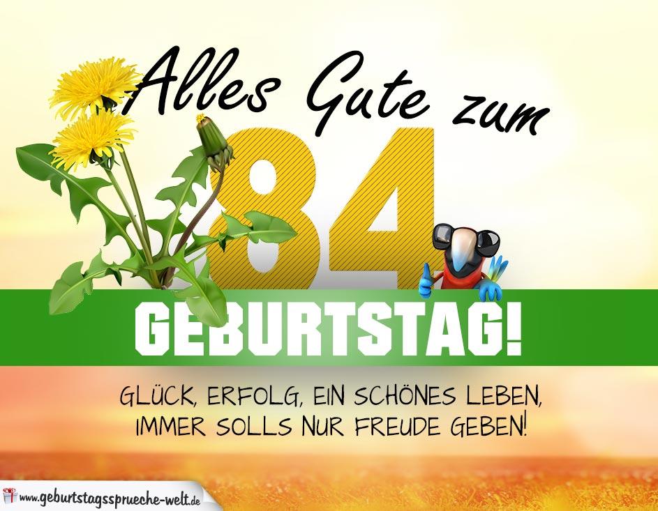 84 Geburtstag Geburtstagskarte Alles Gute Mit Schönem Spruch