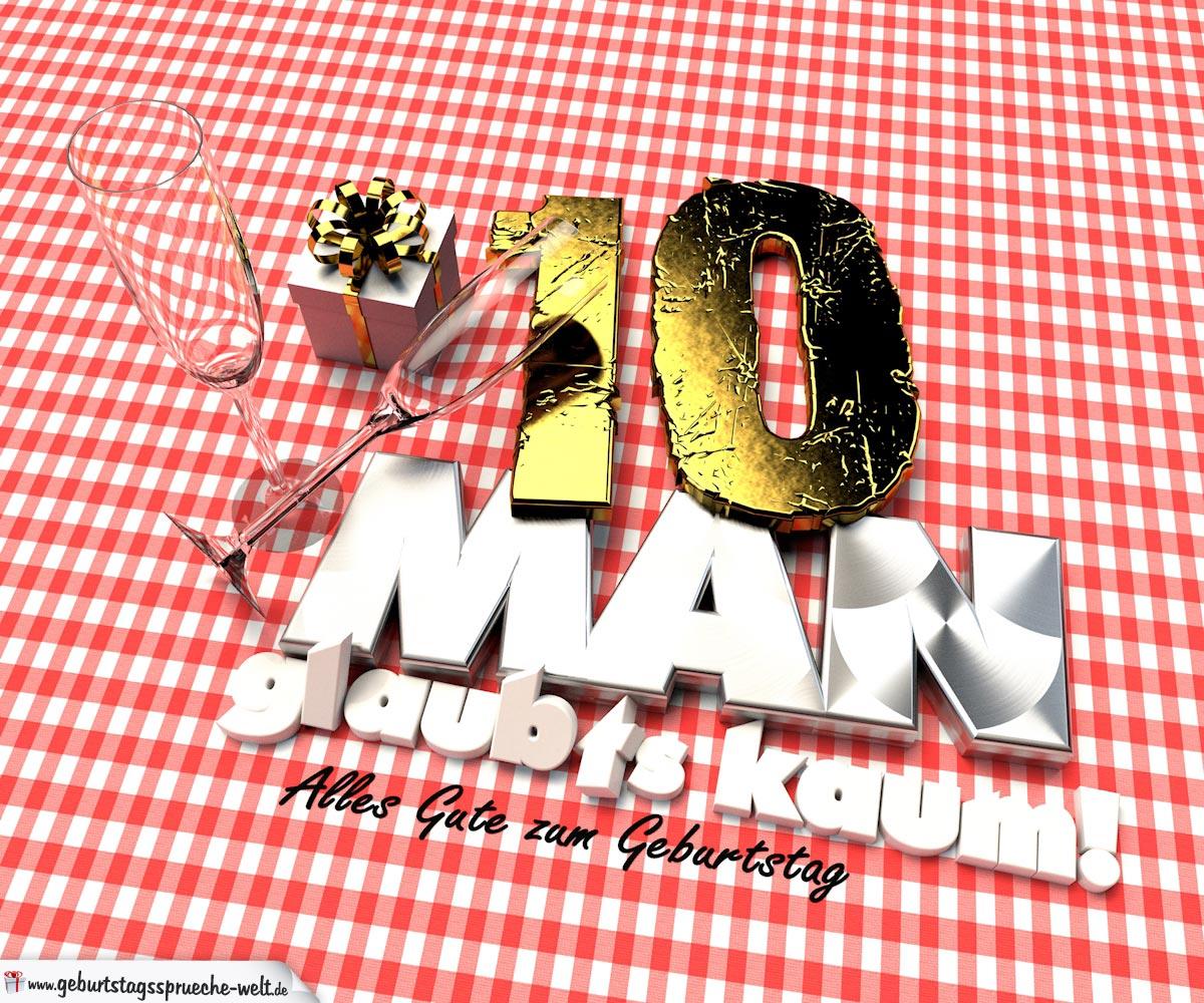 Geburtstagsgruß mit Sektgläsern und Geschenk zum 10. Geburtstag (3D)
