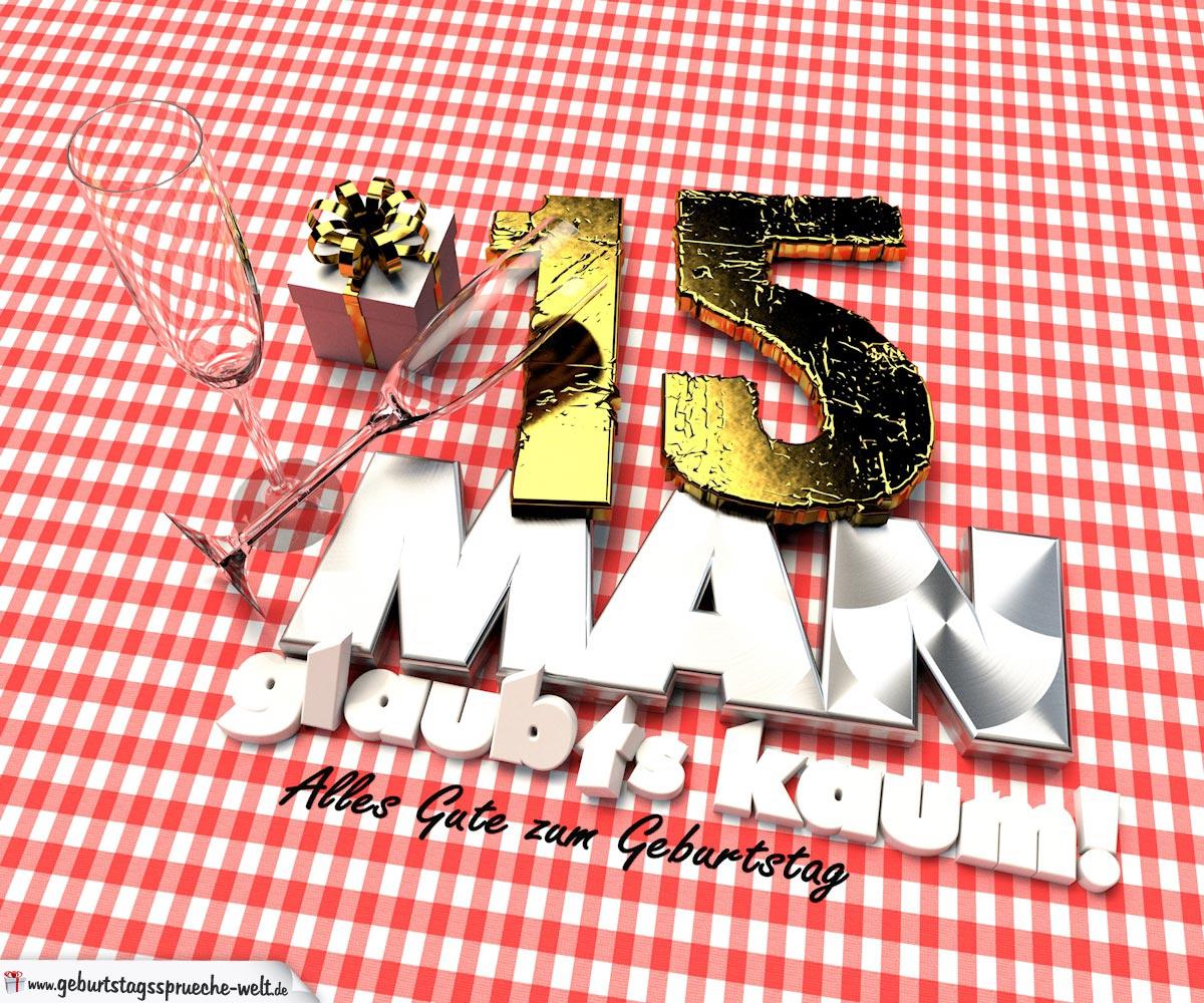 Geburtstagsgruß mit Sektgläsern und Geschenk zum 15. Geburtstag (3D)