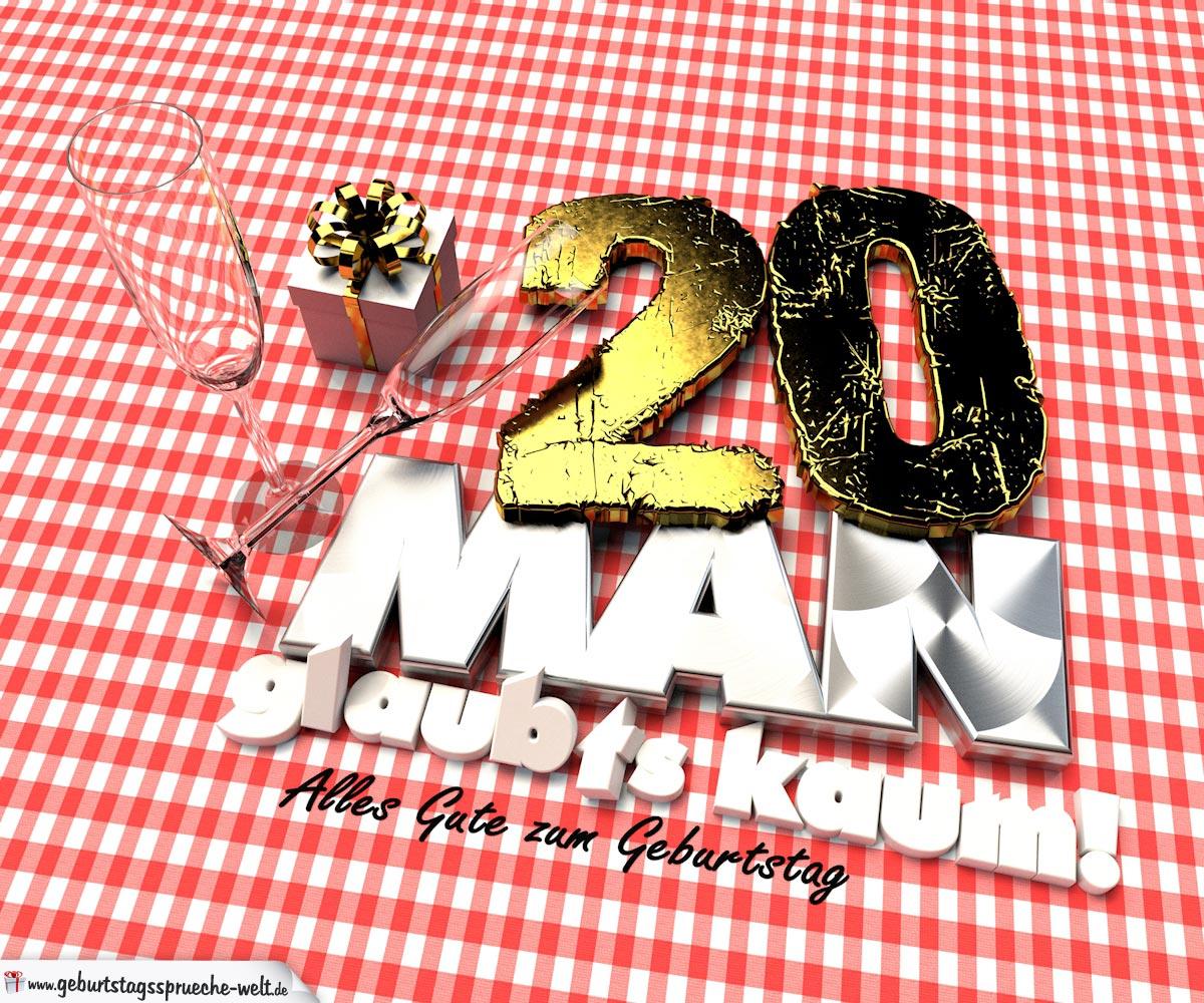 Geburtstagsgruß mit Sektgläsern und Geschenk zum 20. Geburtstag (3D)