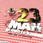 Geburtstagsgruß mit Sektgläsern und Geschenk zum 23. Geburtstag (3D)