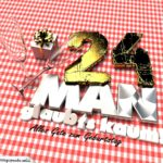 Geburtstagsgruß mit Sektgläsern und Geschenk zum 24. Geburtstag (3D)