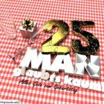 Geburtstagsgruß mit Sektgläsern und Geschenk zum 25. Geburtstag (3D)