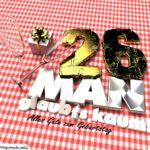 Geburtstagsgruß mit Sektgläsern und Geschenk zum 26. Geburtstag (3D)