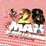 Geburtstagsgruß mit Sektgläsern und Geschenk zum 28. Geburtstag (3D)
