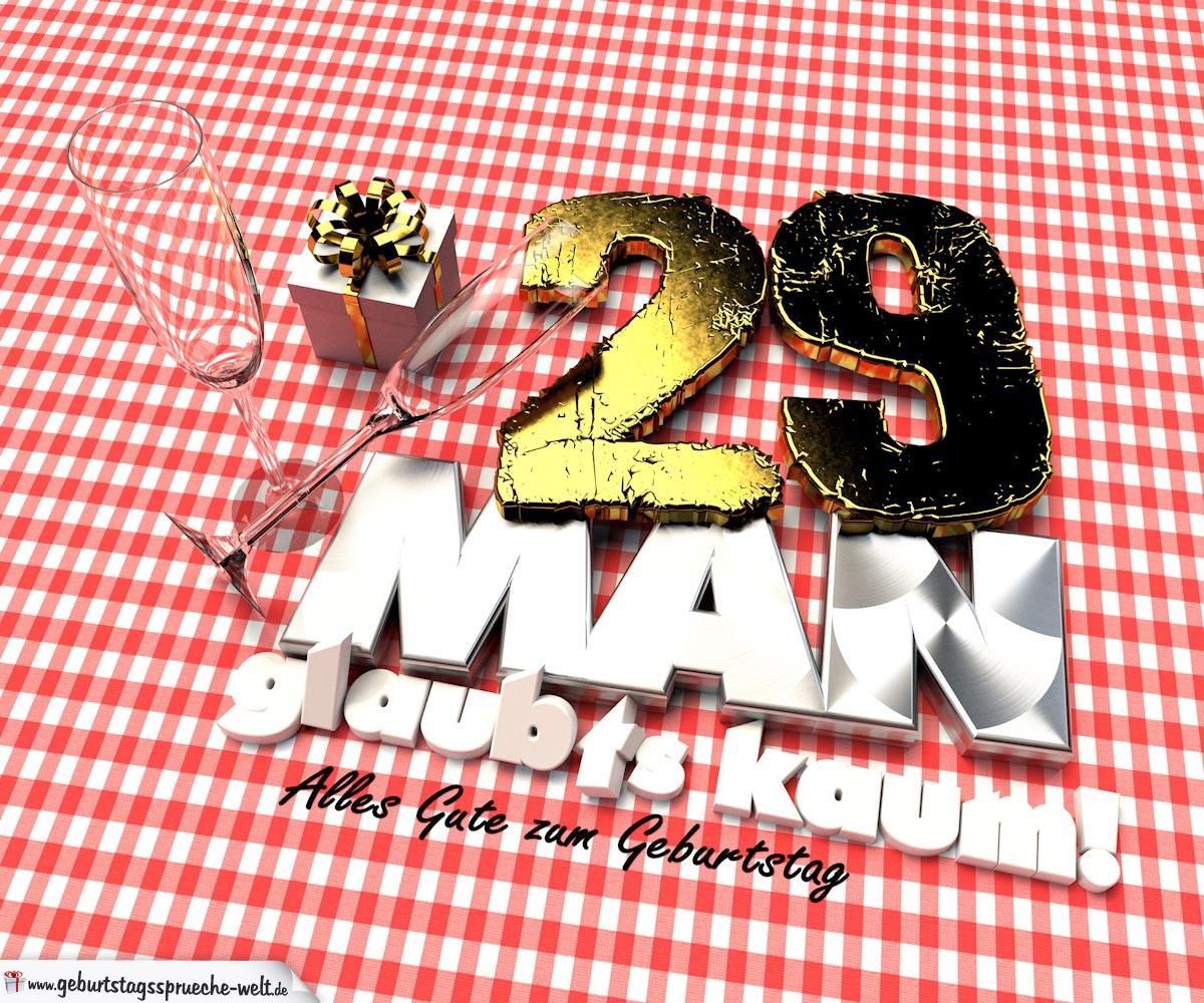 Geburtstagsgruß mit Sektgläsern und Geschenk zum 29. Geburtstag (3D)