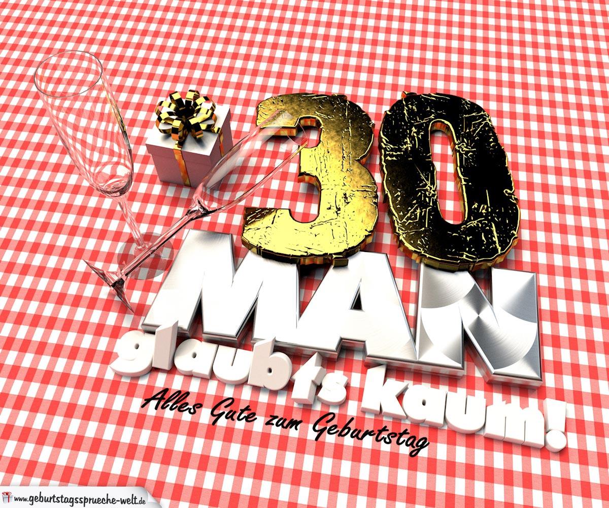 Geburtstagsgruß mit Sektgläsern und Geschenk zum 30. Geburtstag (3D)