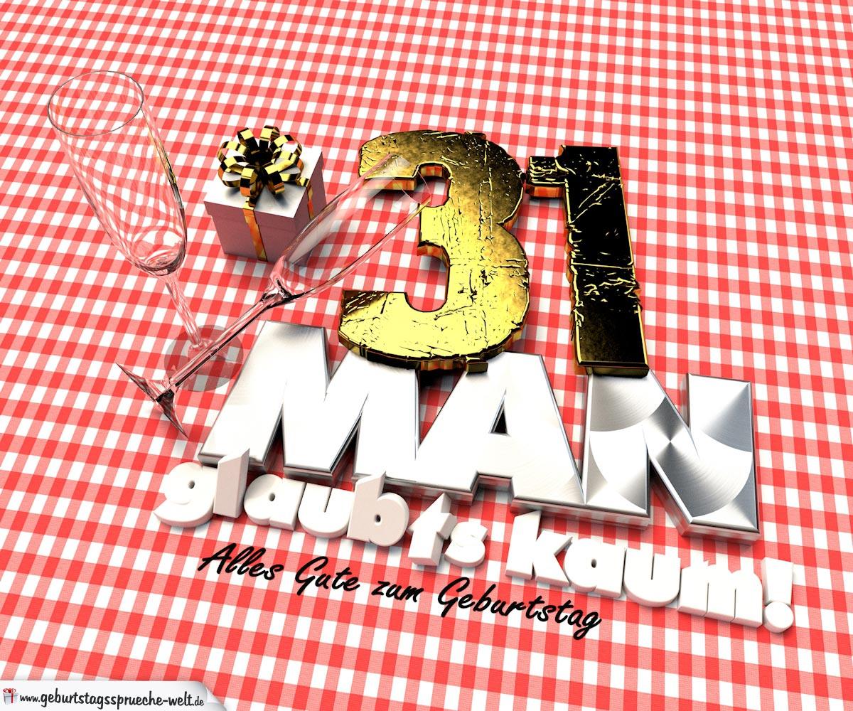 Geburtstagsgruß mit Sektgläsern und Geschenk zum 31. Geburtstag (3D)