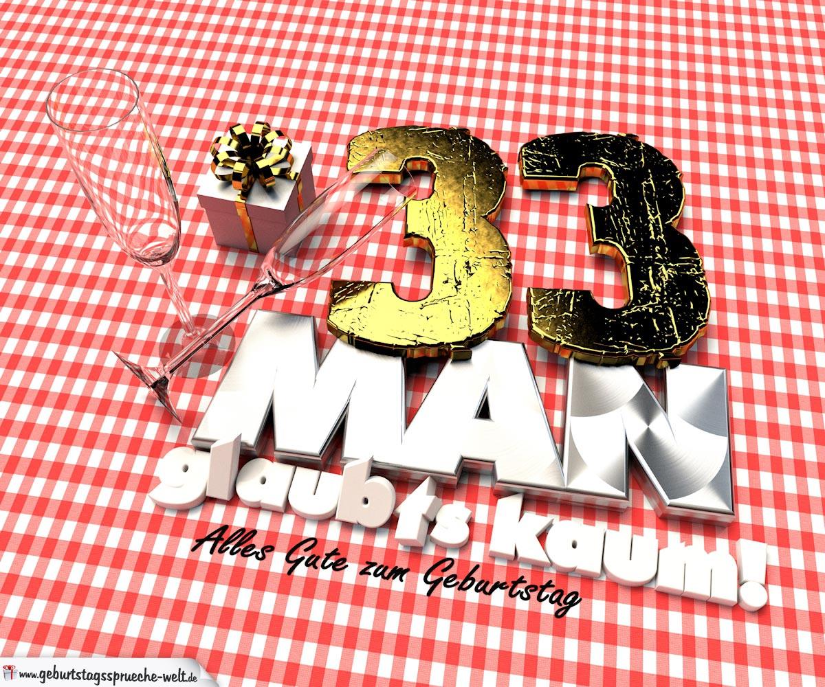 Geburtstagsgruß mit Sektgläsern und Geschenk zum 33. Geburtstag (3D)