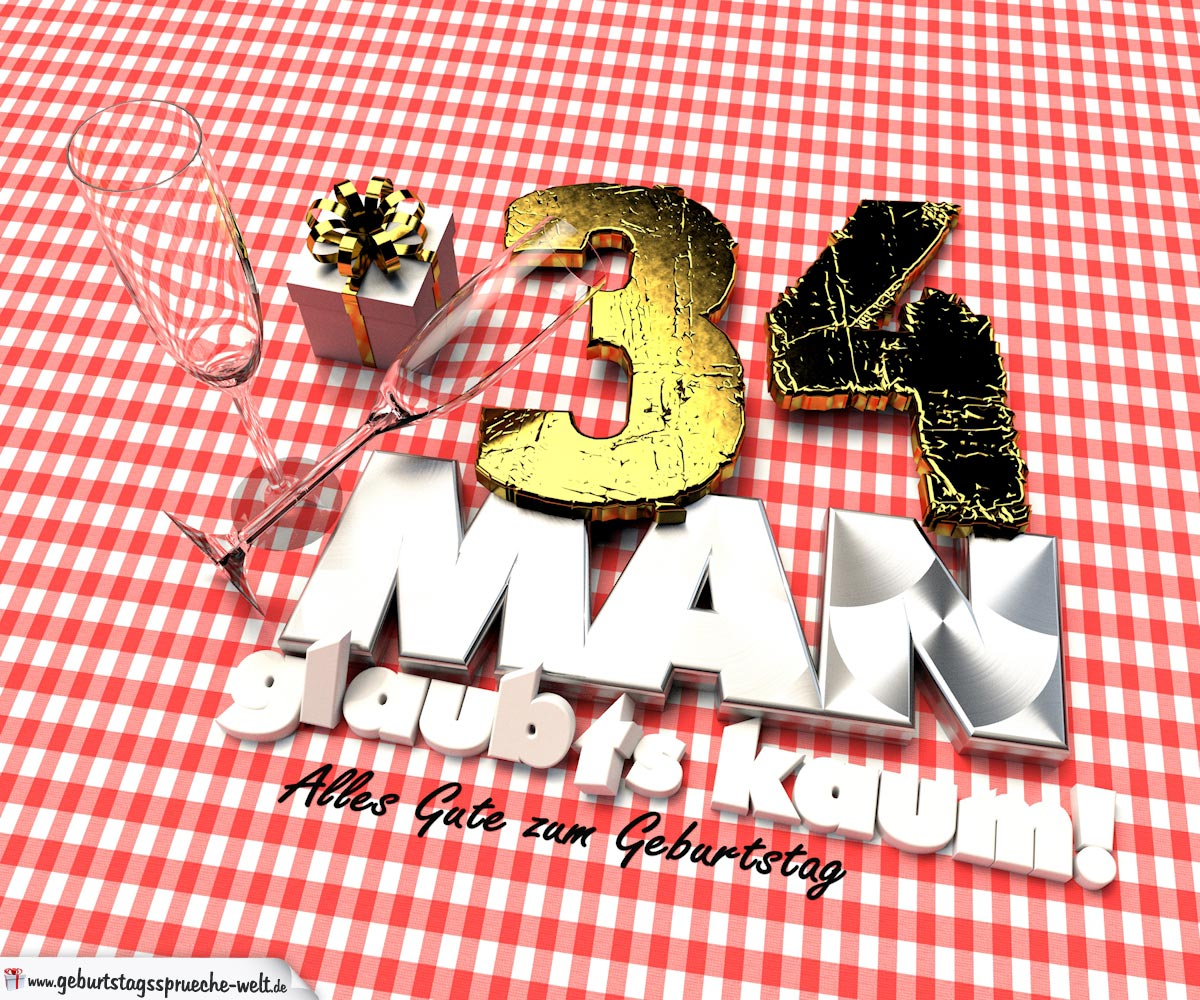 Geburtstagsgruß mit Sektgläsern und Geschenk zum 34. Geburtstag (3D)