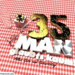 Geburtstagsgruß mit Sektgläsern und Geschenk zum 35. Geburtstag (3D)