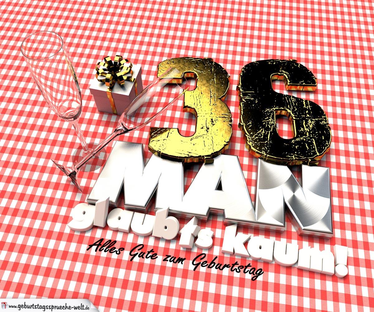 Geburtstagsgruß mit Sektgläsern und Geschenk zum 36. Geburtstag (3D)
