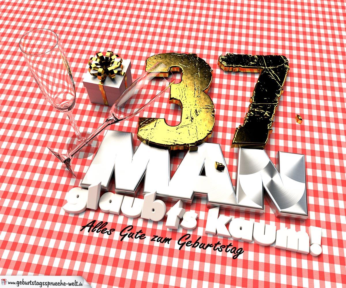 Geburtstagsgruß mit Sektgläsern und Geschenk zum 37. Geburtstag (3D)