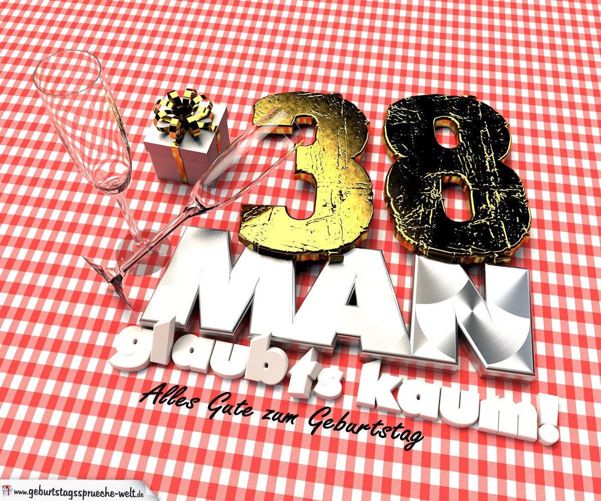 Geburtstagsgruß mit Sektgläsern und Geschenk zum 38. Geburtstag (3D)